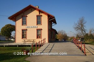 A photo of the New Glarus historic railroad station