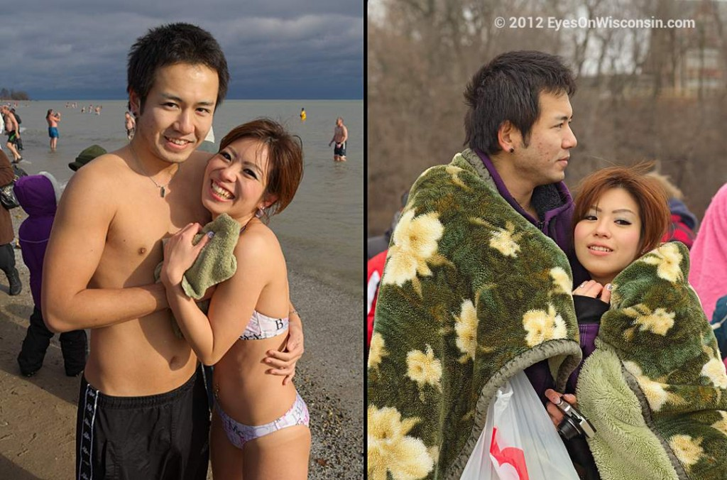 Before and After the Polar Bear Plunge Milwaukee WI