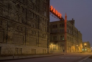 A photo of the historic Pabst Brewery buildings and sign