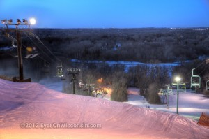 A dusk photo from the top of Crystal Ridge
