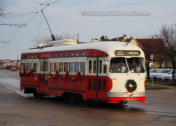 A photo of a Kenosha streetcar decorated for Christmas