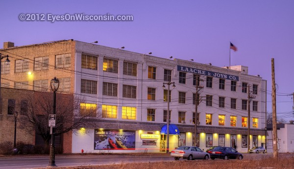 A dusk photo of Laacke and Joys Milwaukee Building