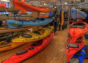 A photo of the kayaks on display