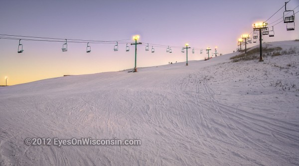 Dusk photo of Crystal Ridge ski hill