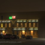 Night photo of Papa Luigi's Pizza in South Milwaukee