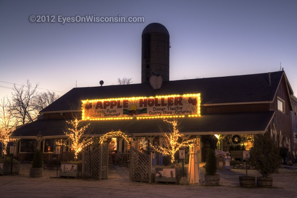 A photo of the Apple Holler Restaurant at dusk