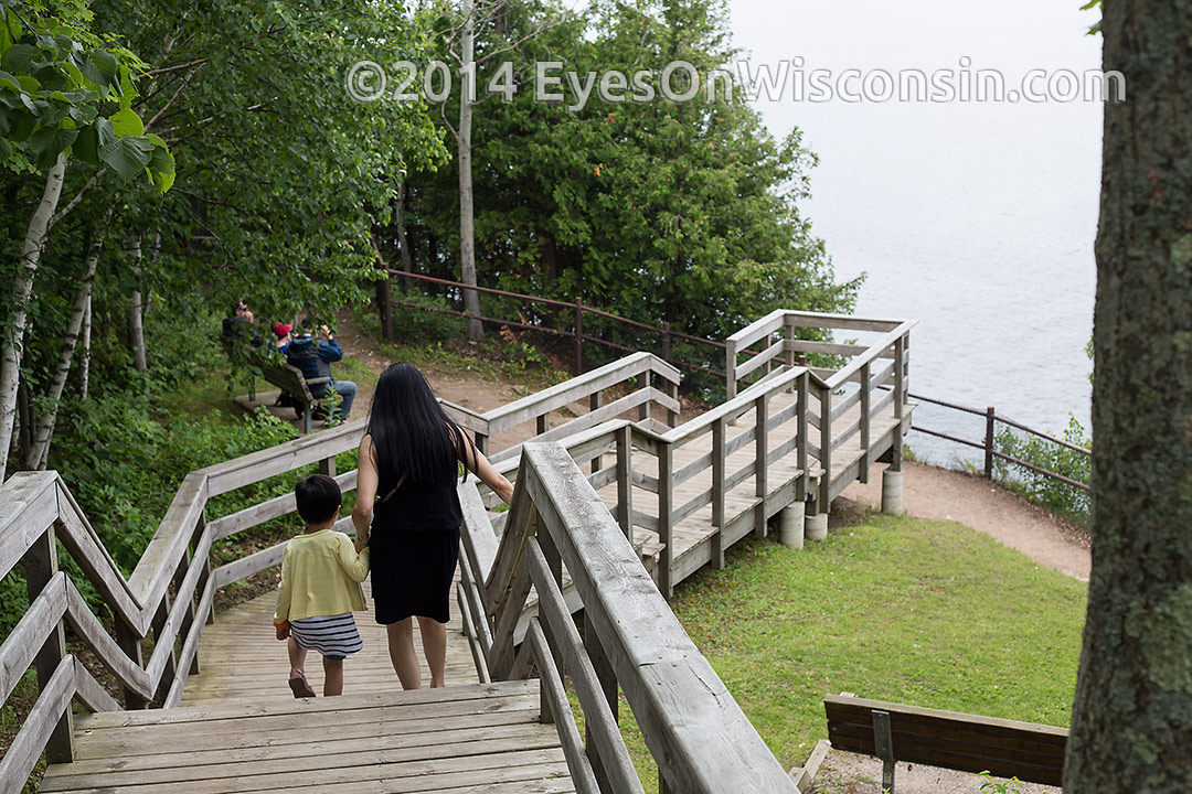 Photo of the stairway down to the scenic overlook at Ellison Bay